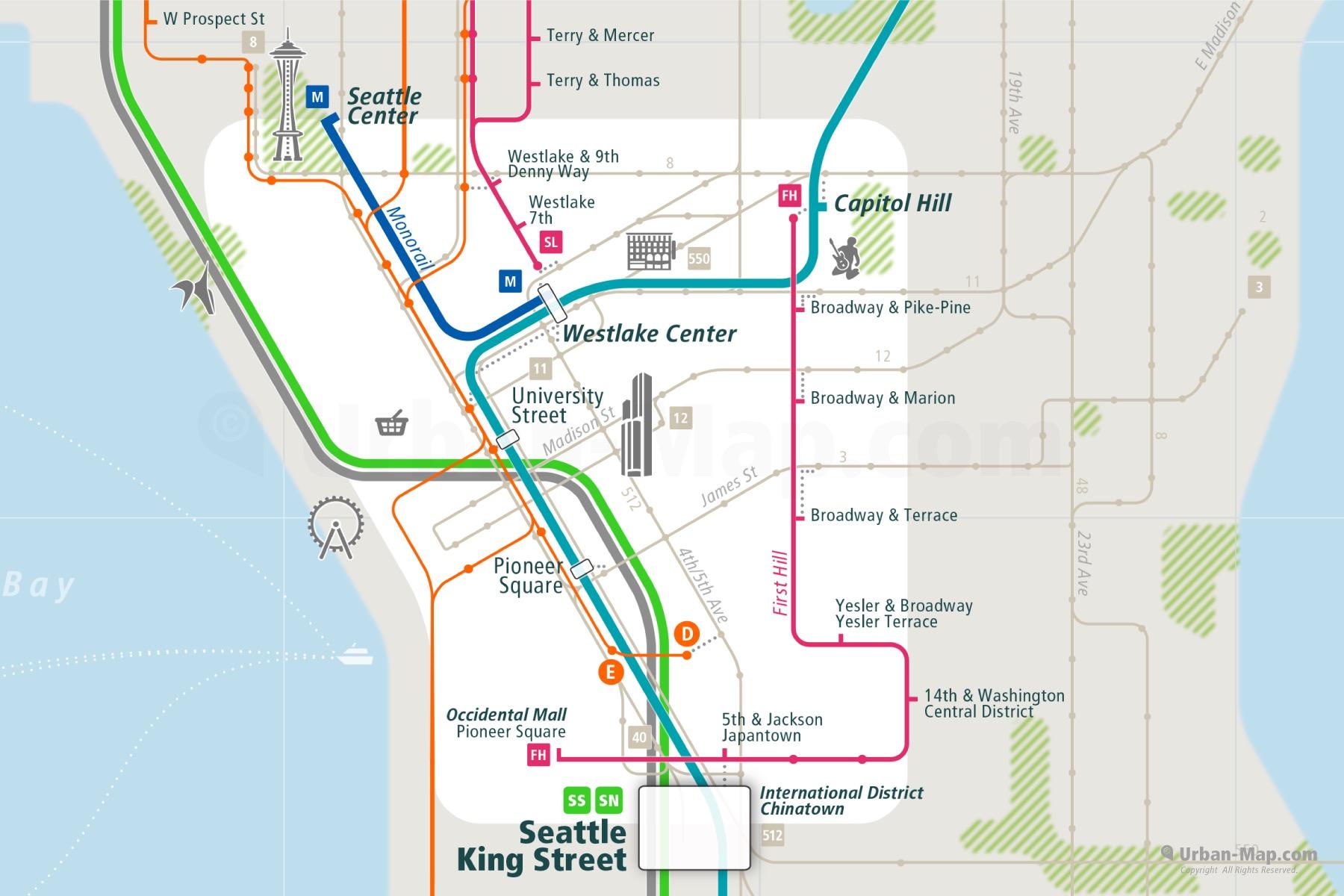 Seattle City Rail Map shows the train and public transportation routes of RapidRide BTR bus rapid transit, bus, monorail, commuter train - Close-Up