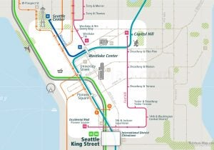 Seattle City Rail Map for train and public transportation - Close-up