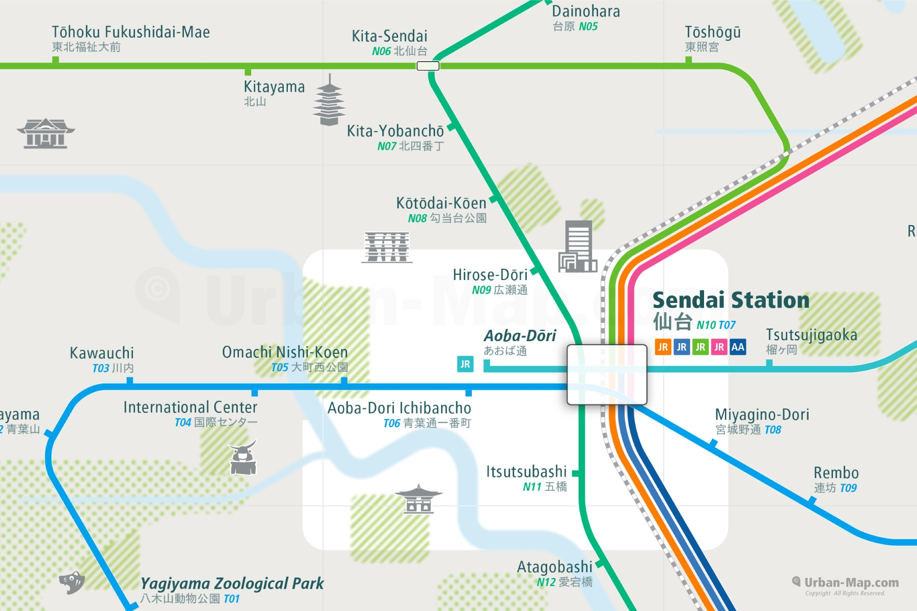Sendai City Rail Map shows the train and public transportation routes of metro, commuter train - Close-Up