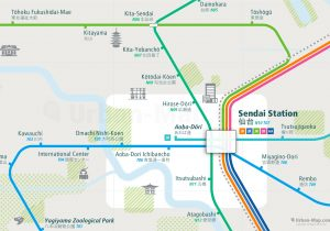 Sendai City Rail Map for train and public transportation - Close-up