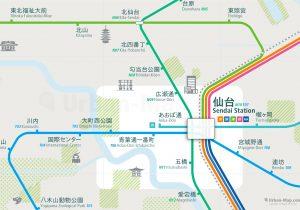 Sendai City Rail Map for train and public transportation - Japanese