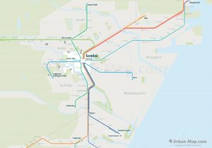 Sendai City Rail Map for train and public transportation - Overview