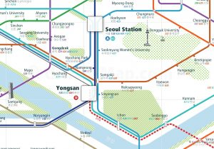 Seoul City Rail Map for train and public transportation  - Close-up