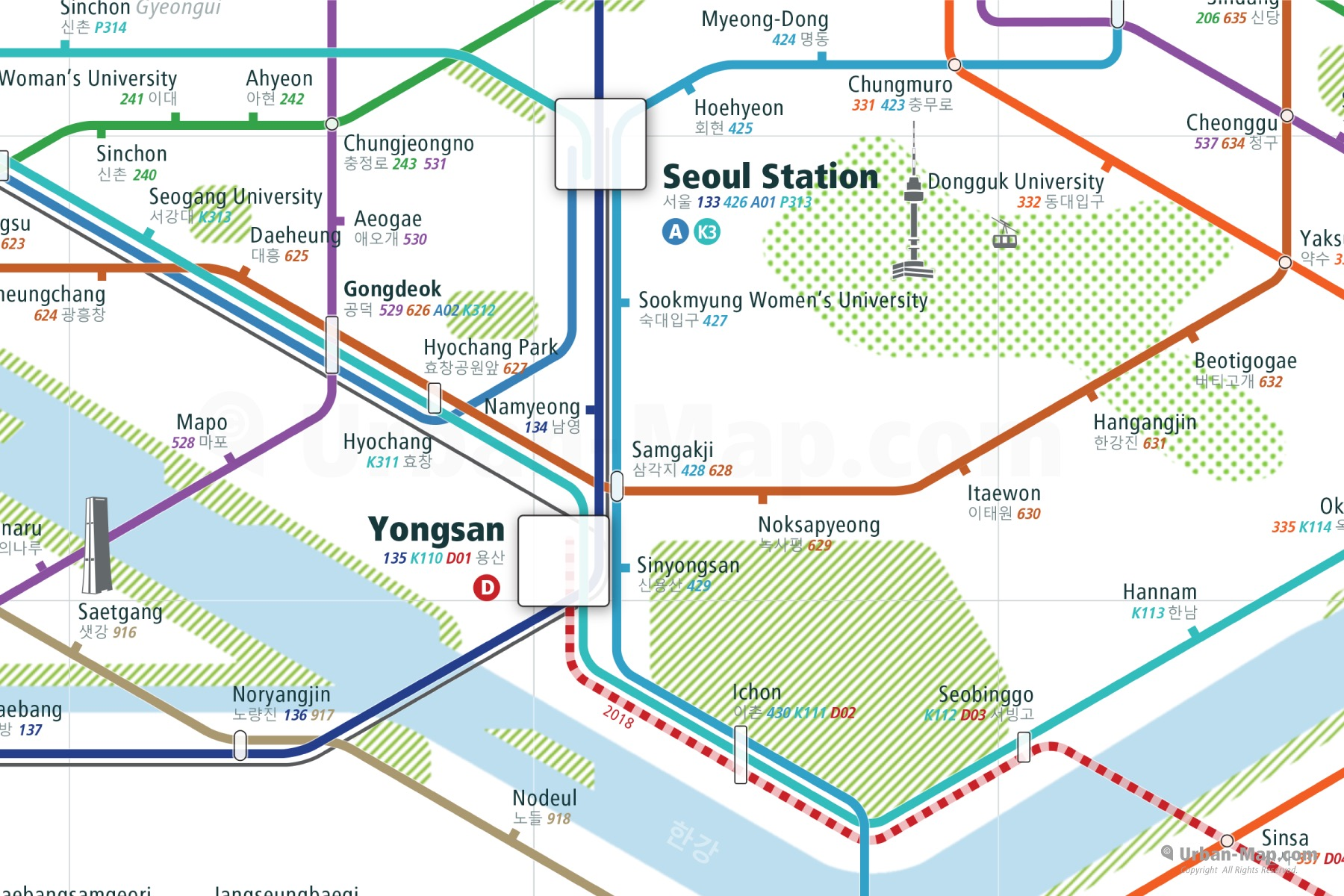 Seoul City Rail Map shows the train and public transportation routes of metro - Close-Up