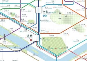 Seoul City Rail Map for train and public transportation  - Korean