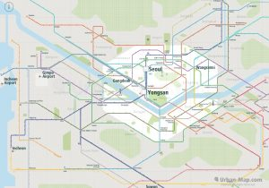 Seoul City Rail Map for train and public transportation - Overview