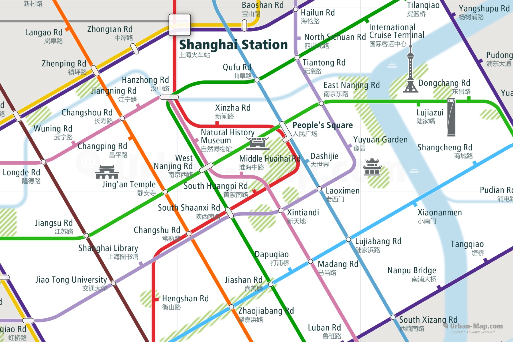 Shanghai City Rail Map shows the train and public transportation routes of Metro - Close-Up