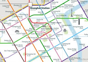 Shanghai City Rail Map for train and public transportation - Close-up