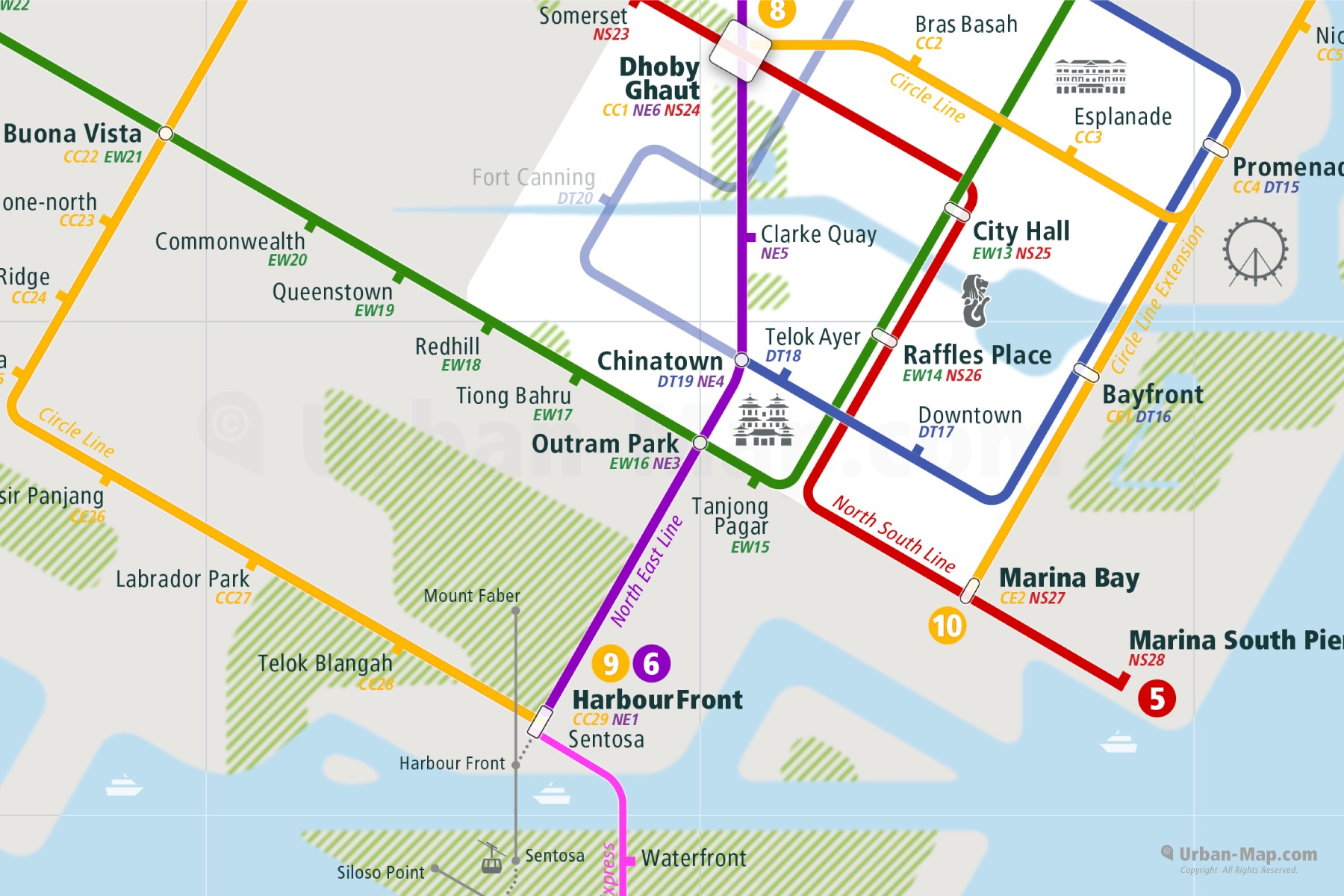 Singapore City Rail Map shows the train and public transportation routes of Metro