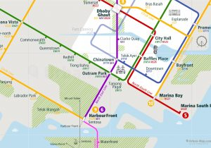 Singapore City Rail Map for train and public transportation - Close-up