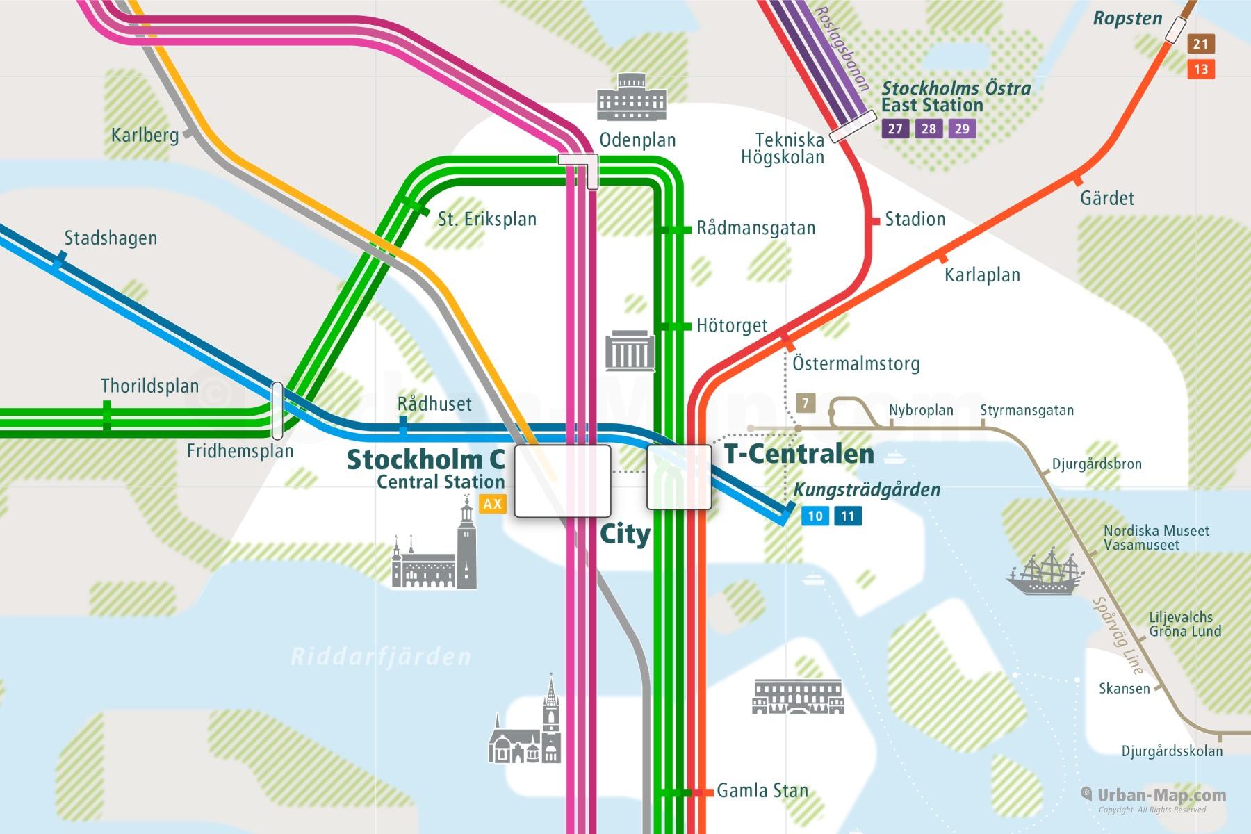 Stockholm City Rail Map
