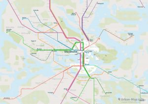 Stockholm City Rail Map for train and public transportation routes of metro, tram, airport link - Overview