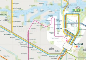 Sydney City Rail Map shows the train and public transportation routes of metro, BRT bus rapid transport, airport link, Ferry, Dulwich Hill line, Commuter train in New South Wales