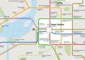 Taipei City Rail Map for train and public transportation - Close-up