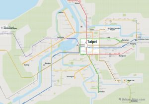 Taipei City Rail Map for train and public transportation - Overview
