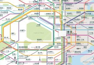 Tokyo City Rail Map for train and public transportation  - Japanese
