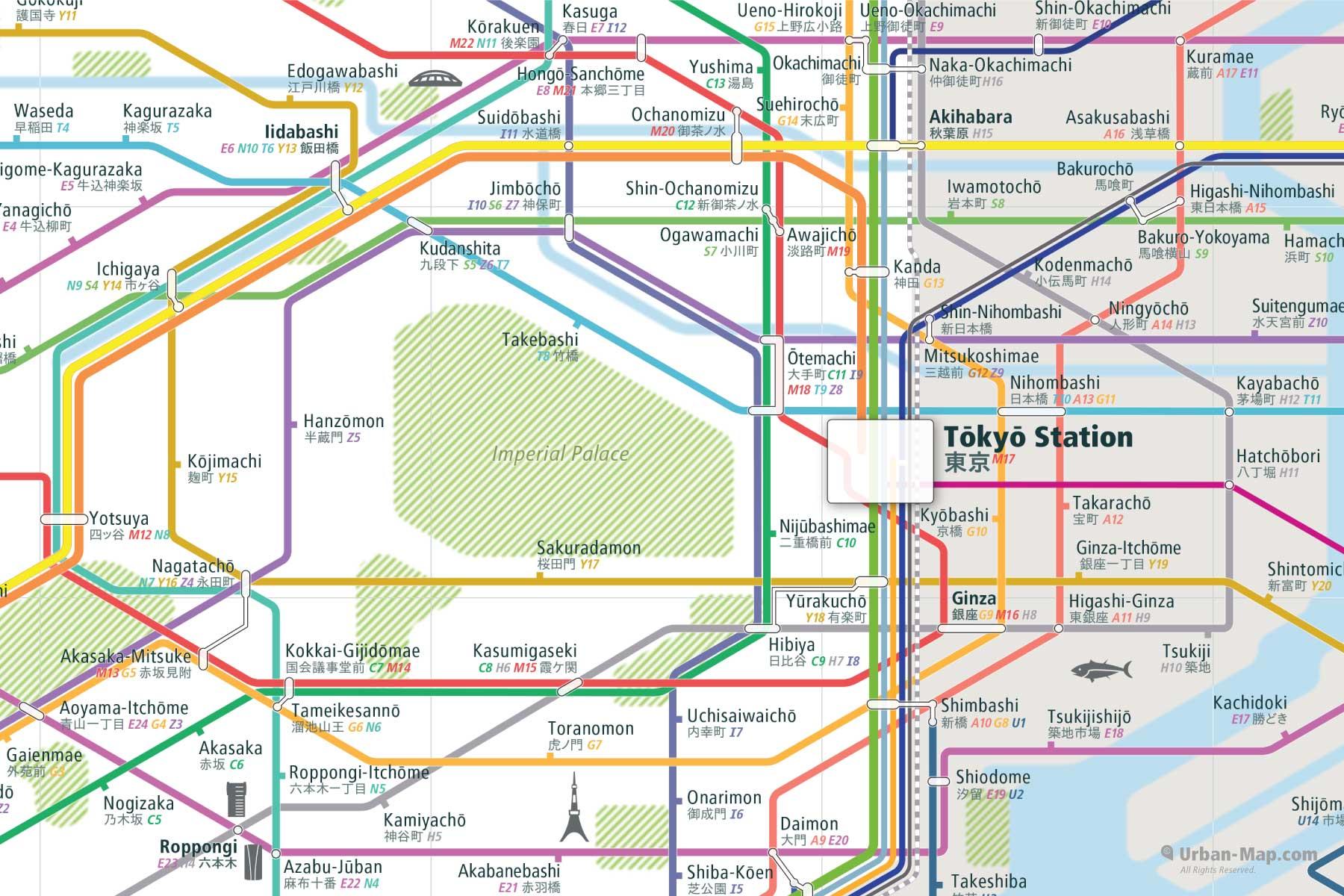Tokyo City Rail Map shows the train and public transportation routes of JR East Japan Rail, Tokyo Metro, Toei Subway, Yokohama Municipal, Keikyu, Keio, Keisei, Odakyu, Seibu, Sotetsu, Tobu, Tokyu,Keiyō, Kawagoe, Saikyō, Rinkai, Shōnan-Shinjuku, Tokyo Monorail, and Airport Link -