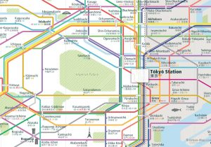 Tokyo City Rail Map for train and public transportation - Close-up