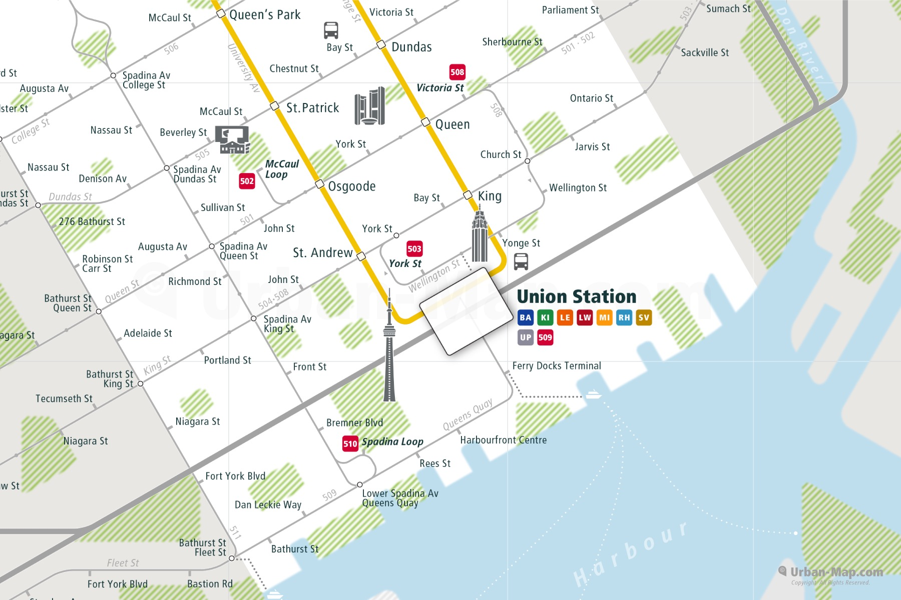 Toronto City Rail Map shows the train and public transportation routes of Metro, Tram - Close-Up