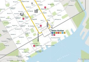 Toronto City Rail Map for train and public transportation - Close-up