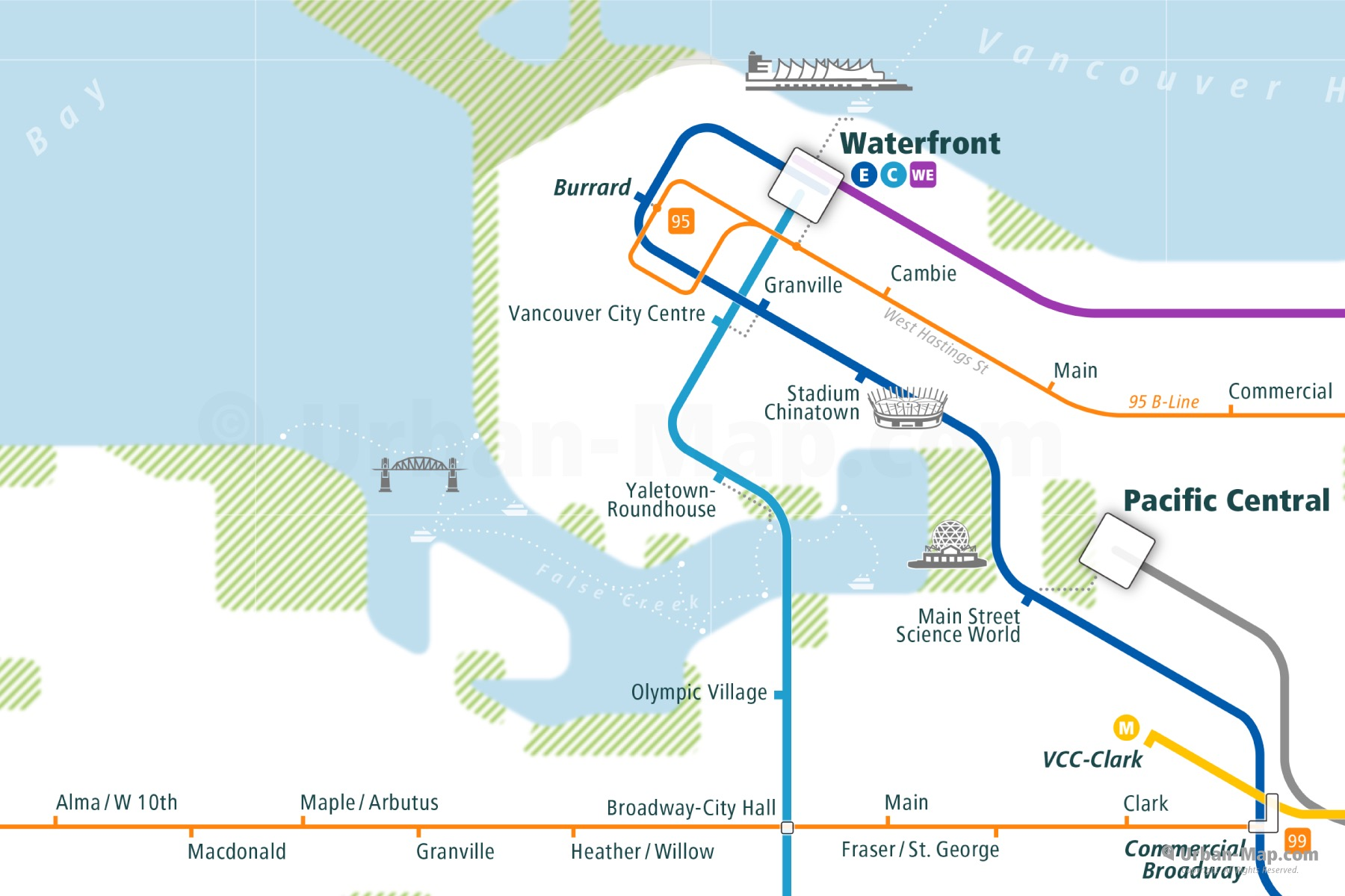 Vancouver City Rail Map shows the train and public transportation routes of metro, TransLink, ferry, bus, B-Line - Close-Up