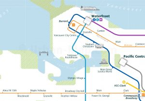 Vancouver City Rail Map for train and public transportation - Close-up