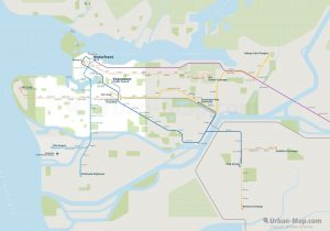 Vancouver City Rail Map for train and public transportation  - Overview