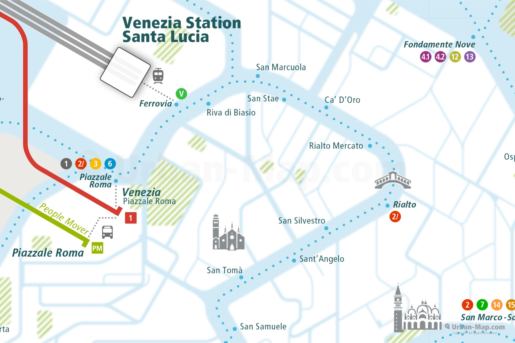 Venice City Rail Map shows the train and public transportation routes of Vaporetto, Waterbus and Ferry and Station Santa Lucia and Rialto Bridge - Close-Up