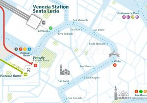 Venice City Rail Map for train and public transportation routes of commuter train, ferry, waterbus, Vaporetto, Tram - Close-up