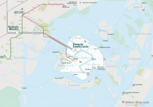 Venice City Rail Map for train and public transportation routes of commuter train, ferry, waterbus, Vaporetto, Tram - Overview