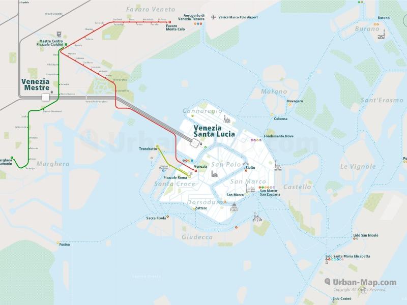 Venice Rail Map overview