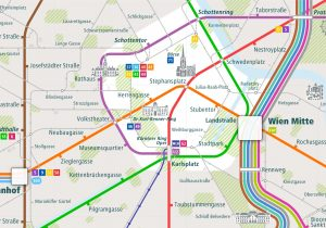 Vienna City Rail Map shows the train and public transportation routes of U-Bahn, metro, tram, commuter train - Close-Up