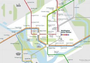 Washington City Rail Map for train and public transportation  - Close-up