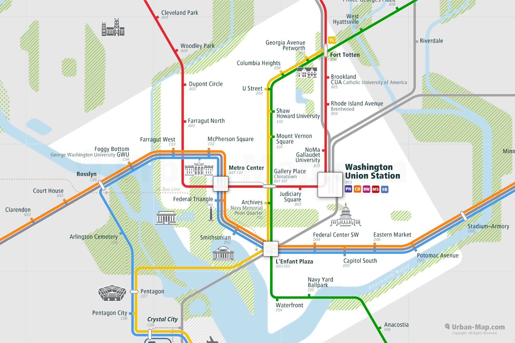 Washington City Rail Map shows the train and public transportation routes of Metro, Commuter Train - Close-Up