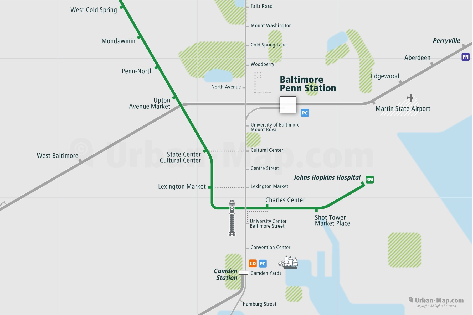 Baltimore City Rail Map shows the train and public transportation routes of Metro, Street Car - Close-Up