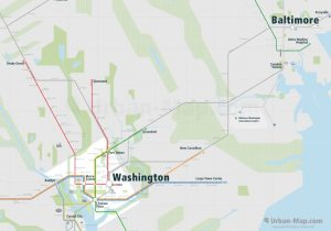Washington City Rail Map for train and public transportation  - Overview