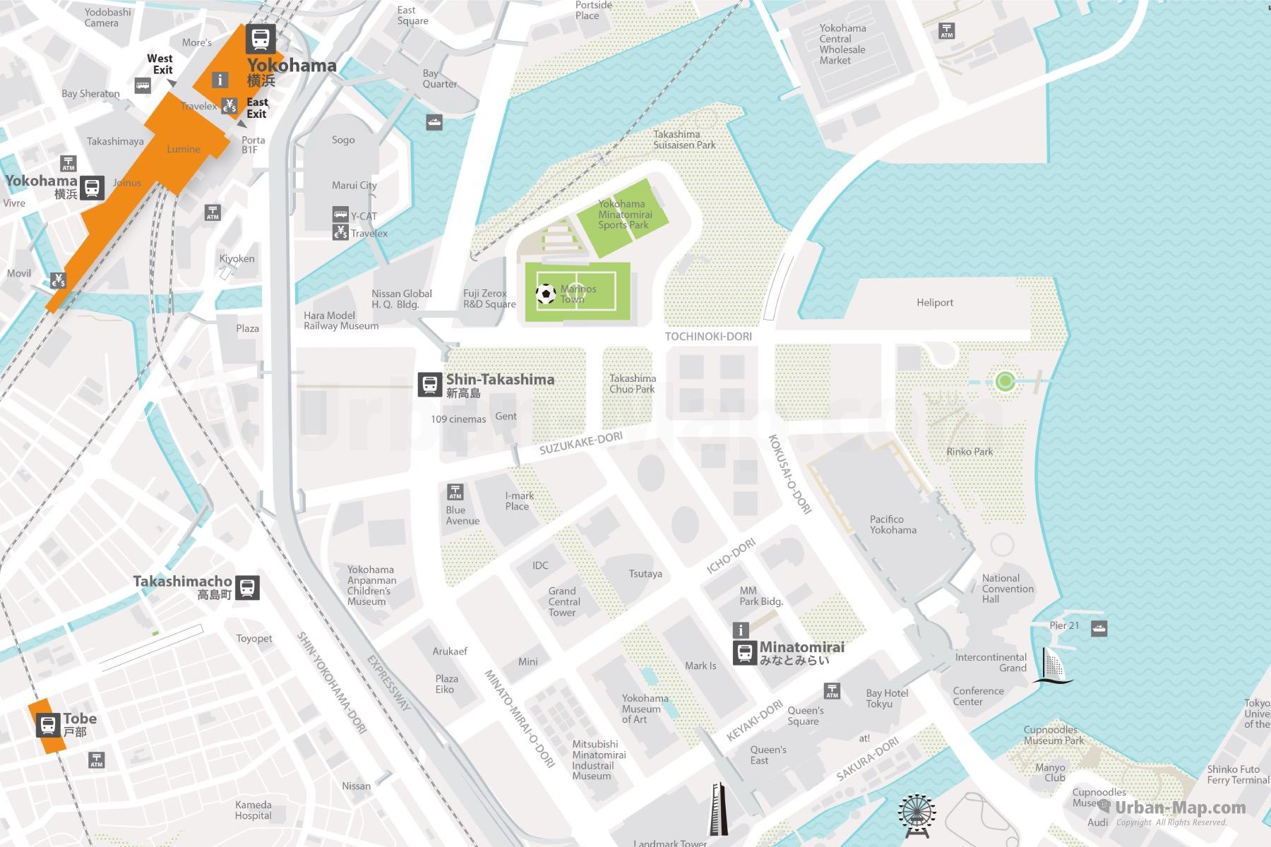 Yokohama Area City Map shows the Yokohama Station