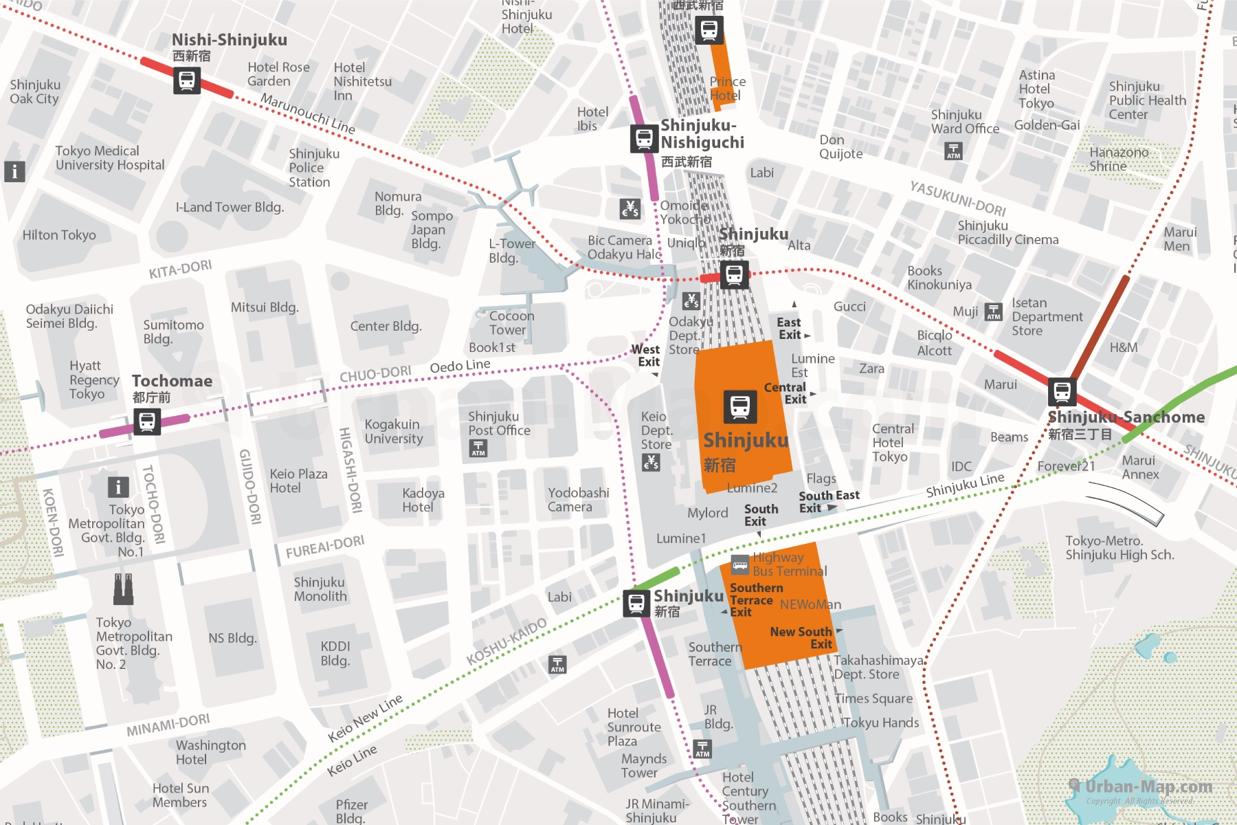 Shinjuku Area City Map