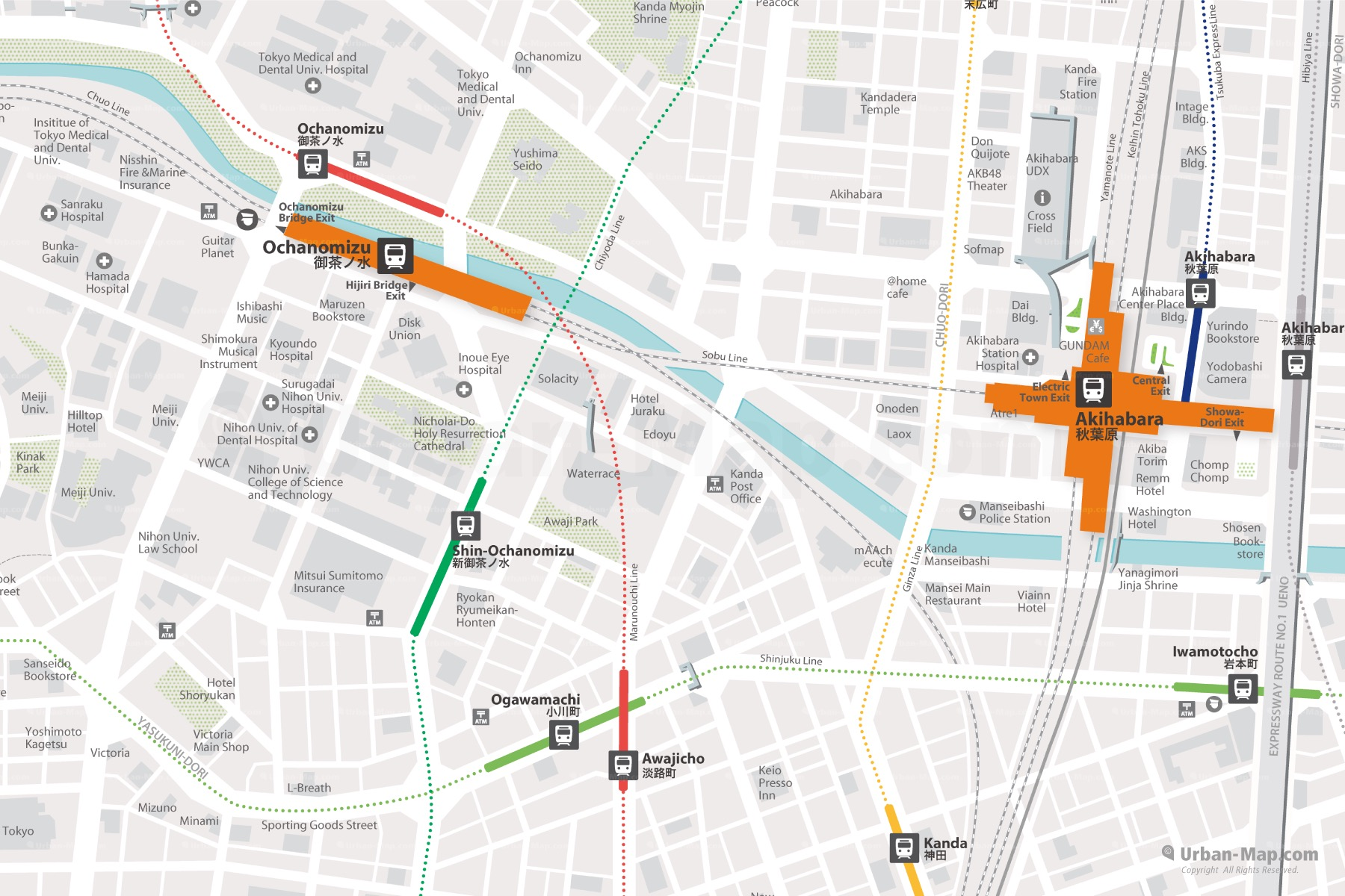 Tokyo Akihabara City Map shows Ochanomizu and Akihabara Station