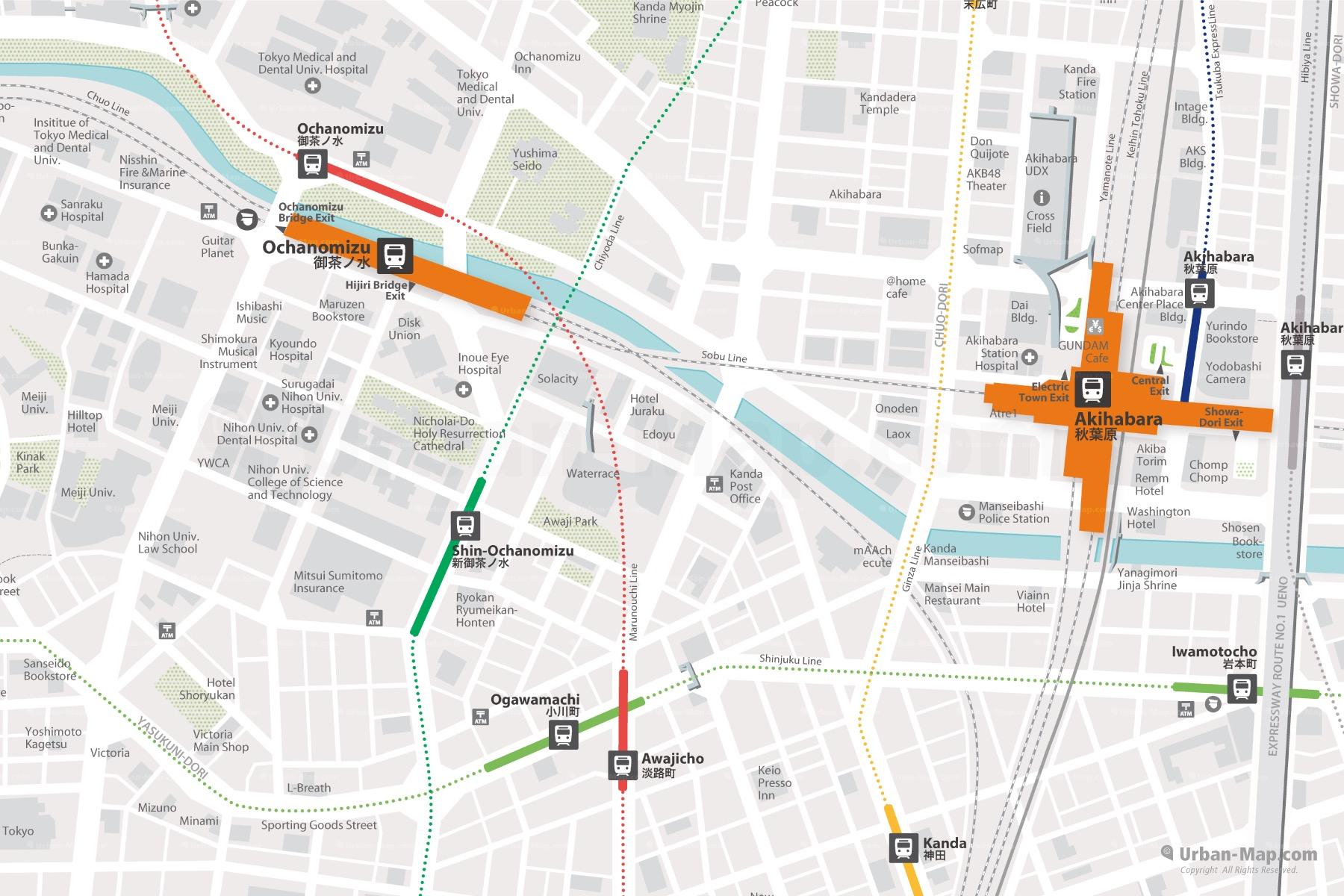 Tokyo Akihabara City Map