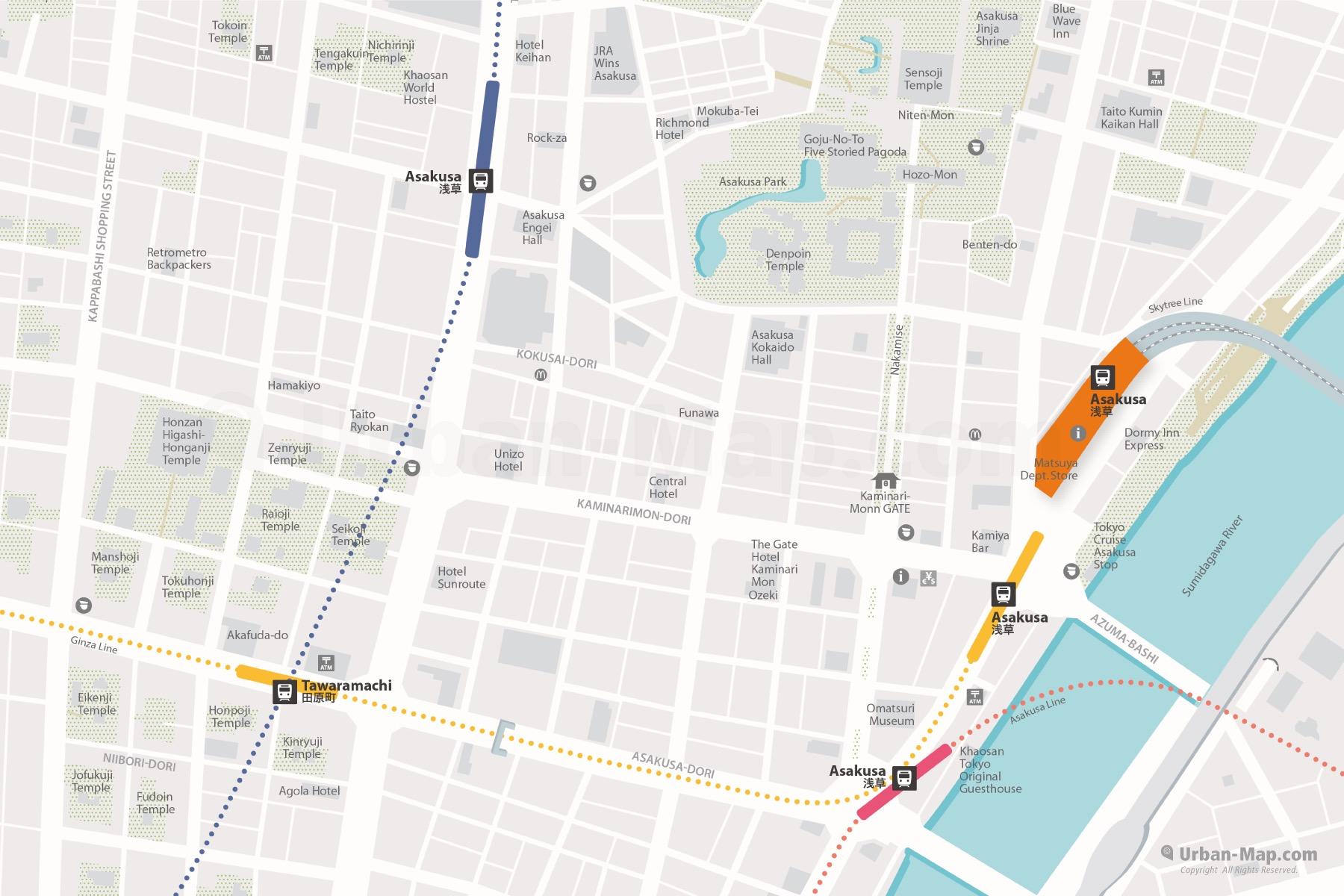 Tokyo Asakusa City Map shows Asakusa Station, Kaminarimon, Tawaramachi