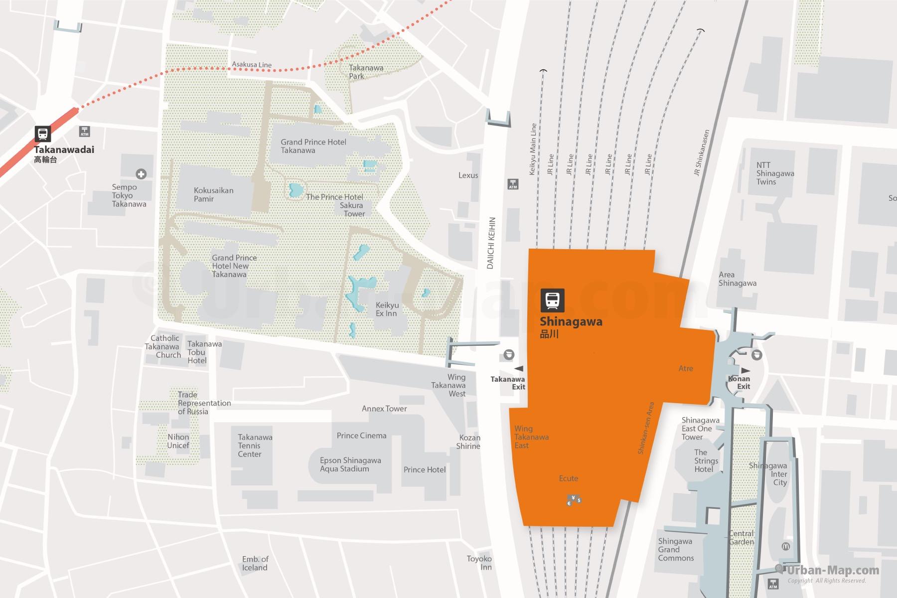 City Map of Tokyo Shinagawa JR Station and Metro