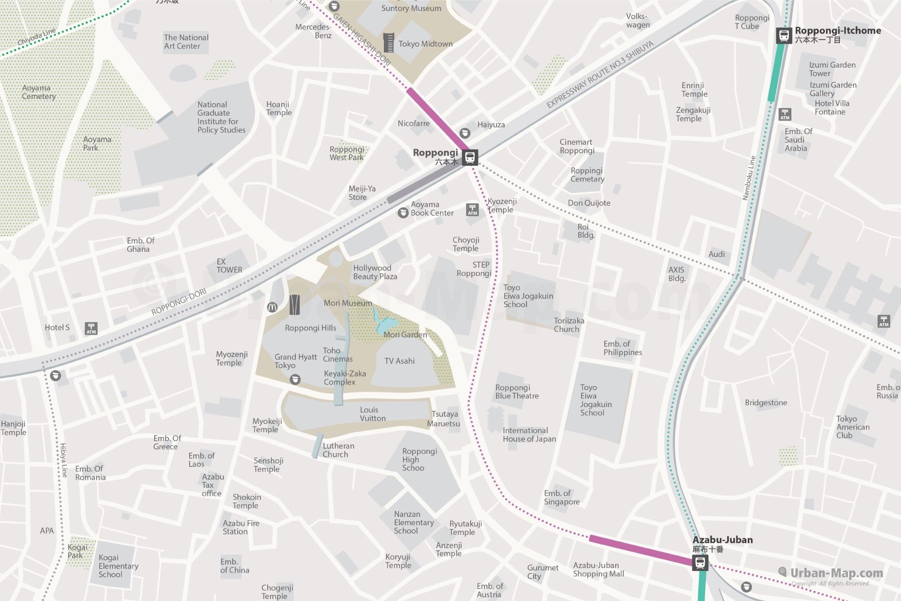 Tokyo Roppongi City Map, Roppongi Hills and Tokyo Midtown