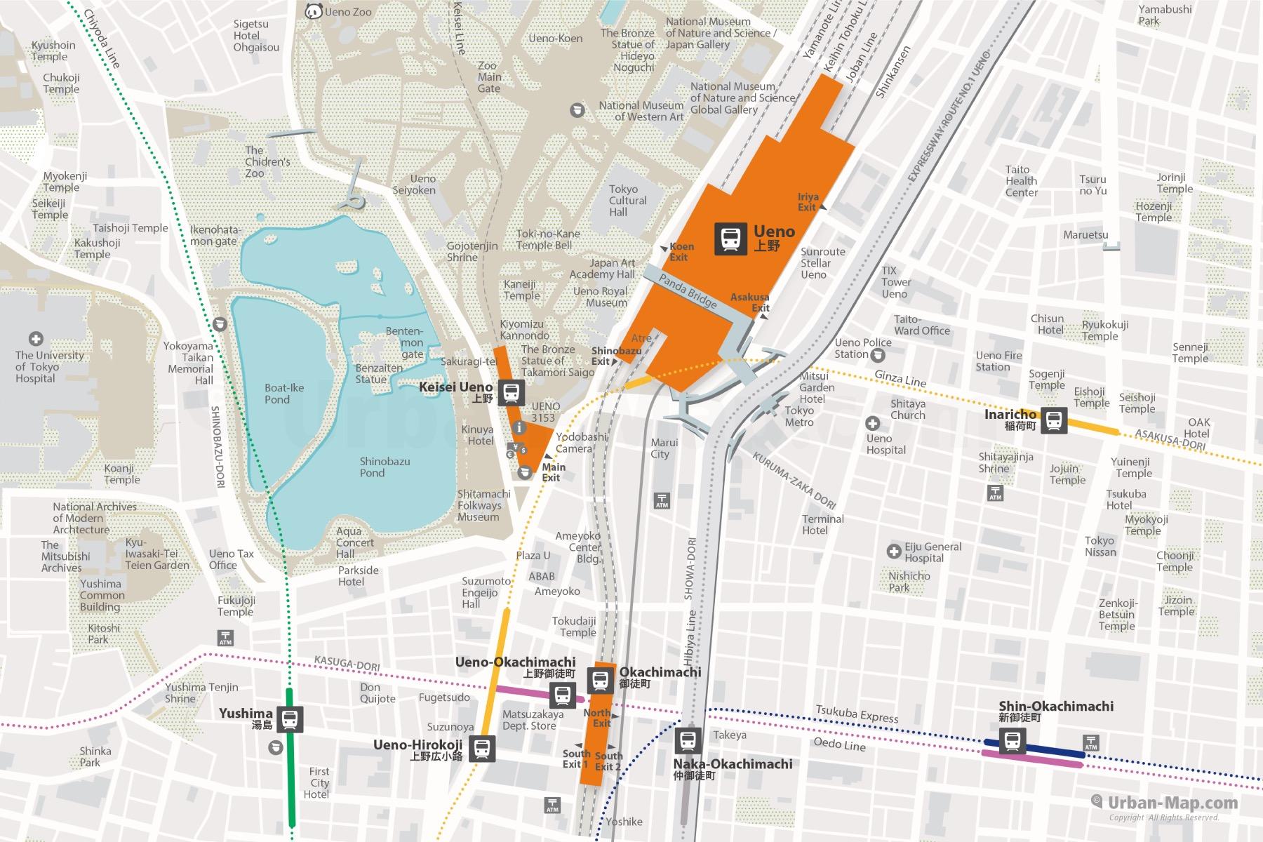 Tokyo Ueno JR Station and Keisei, Torko Metro, Toei Subway City Map