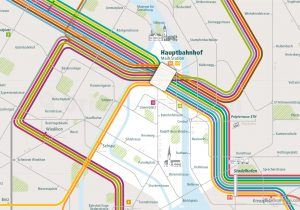 Zurich City Rail Map for train and public transportation routes of tram, S-Bahn, commuter train - Close-up