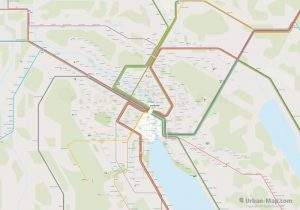 Zurich City Rail Map for train and public transportation routes of tram, S-Bahn, commuter train - Overview