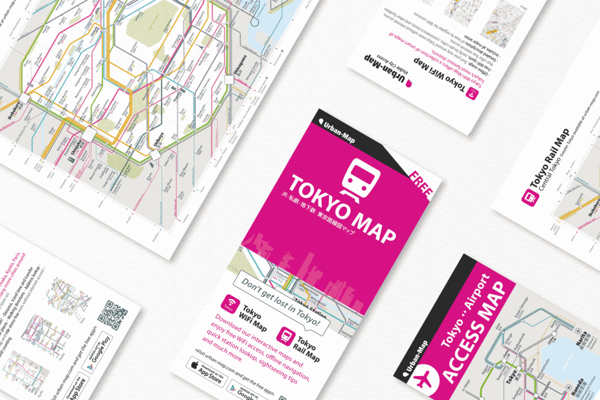 Free Central Tokyo Rail Map leaflet for hotel guests or visitors of tourist institution.
