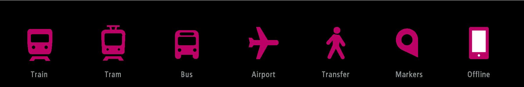 Icon of Train, Tram, Bus, Airport, Transfer, Marker, Offline